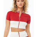 High Quality Color Blocks Crop Top And Mini Skirt Set With Low MOQ