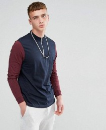 Relaxed-Contrast-Long-Sleeves-T-Shirt-With-Zip-Turtle-Neck-RO-2170-20-(1)