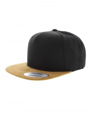 2 Tone Snapback Baseball Cap in Black & Tan