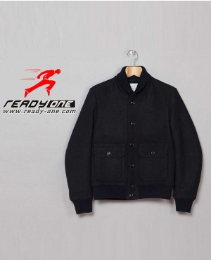 All Black High Collar Varsity Jacket