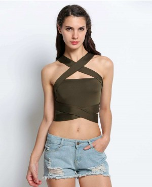 Army Green Sexy Women Bandage Crop Tops
