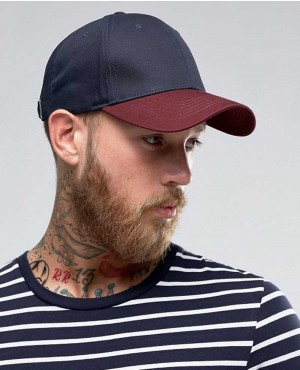 Baseball Cap In Burgundy and Navy