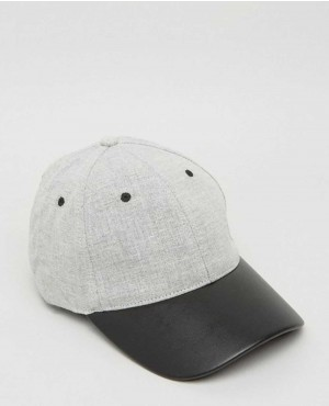 Baseball Cap In Grey With Contrast Peak