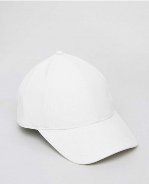 Baseball Cap In White Faux Leather