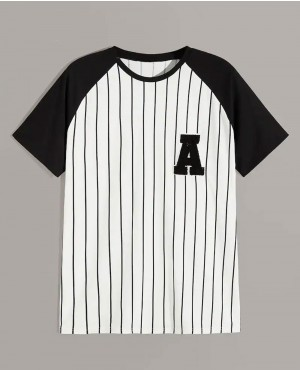 Baseball Shirt With Custom Chenille Logo Black & White Striped
