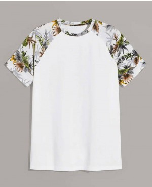 Beach Tropical Print Raglan Sleeve Tee