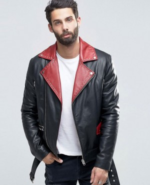 Belted Leather Biker In Black With Red Lapel Detail