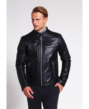 Best Selling Original Real Leather Pocket Biker Jacket for Men