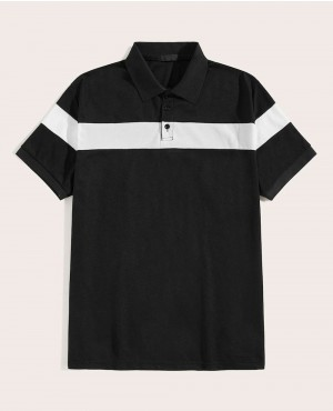 Black & White Contrast Panel Polo Shirt