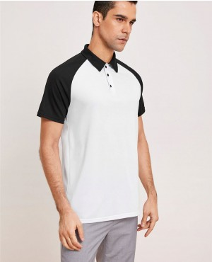 Black & White Raglan Sleeve Polo Shirt