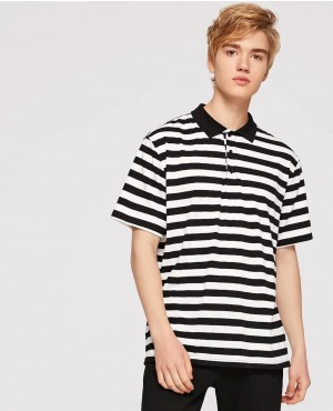 Black & White Two Tone Striped Polo Shirt