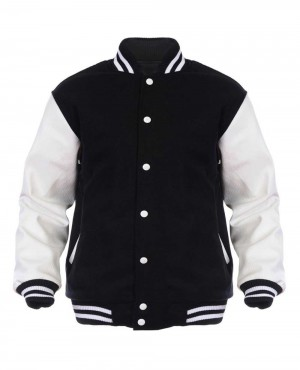 Black & White Wool & Leather College Letterman Jacket