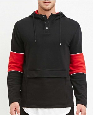 Black and Red with Tablet Pocket Stylish Hoodie