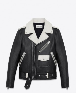 Black And White Bomber Style Leather Jacket
