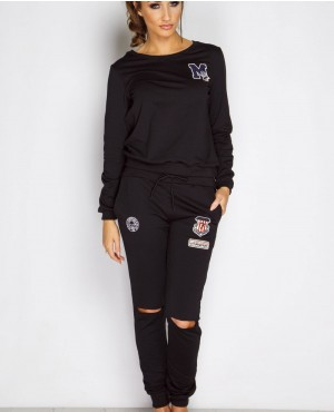 Black Badged Ripped Knee Loungewear Sweat Suit