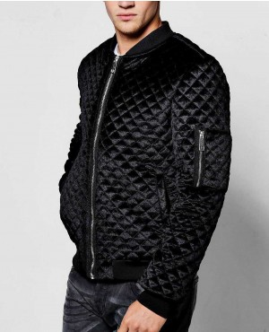 Black Diamond Quilted Velour Bomber Jacket
