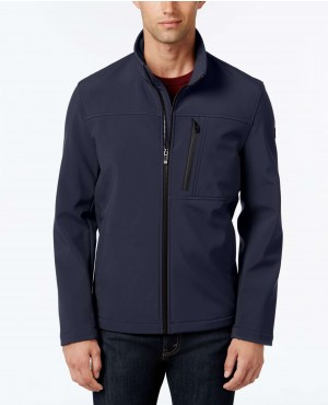 Black Men Softshell Full Zip Jacket