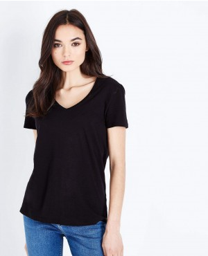 Black Organic Cotton V Neck T Shirt