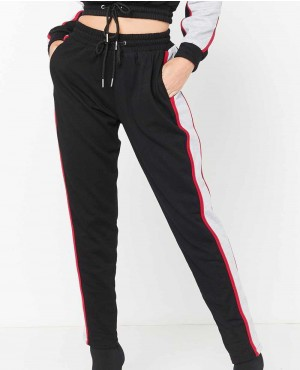 Black Panel Stripe Detail Sweatpants