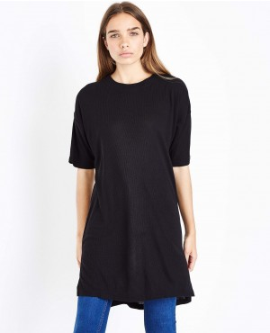 Black Side Split Longline T-Shirt