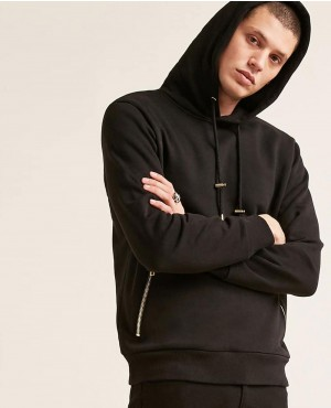 Black Street Hoodie Gold Zipper Pocket