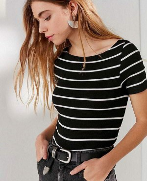Black T Shirt With White Stripes