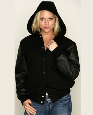 Black Women College Lettermen Wool & Leather Hooded Varsity Jacket