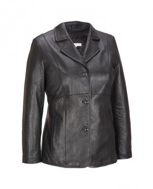 Black Women Leather Blazer