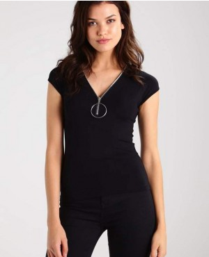 Black Women T Shirt With Front Zip