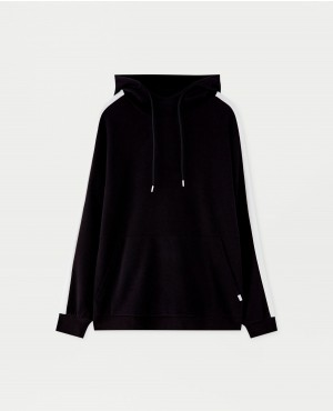 Black White Hoodie with side stripes
