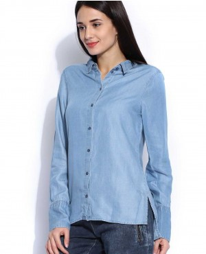 Blue Denim Casual Shirt with Side Slits