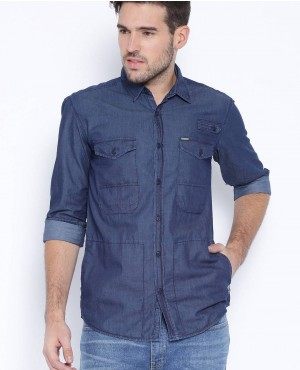 Blue Denim Moto Shirt