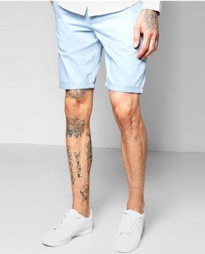 Blue Skinny Fit Chino Short