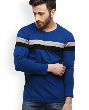 Blue T Shirt With Stripes On The Front And Sleeves With Low prices