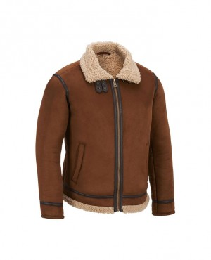 Bomber Shearling Real Sheepskin Leather Aviator Jacket
