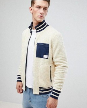 Borg Fleece Reversible Bomber Jacket in Cream and Navy