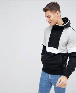 Brand Your Own Retro Hoodie In Black With Half Zipper