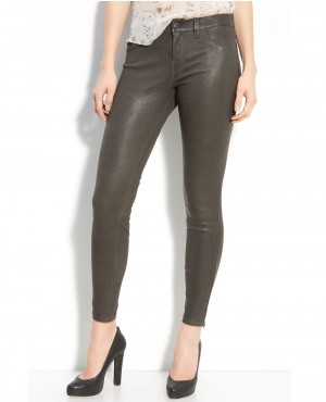 Branded Grey Lambskin Leather Pant