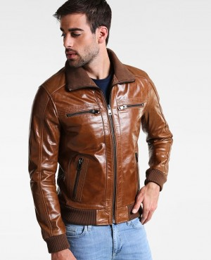Brown Genuine Leather Jacket Men for Bikers Racer Vintage Motorcycle Jackets All Sizes with Customized Logo and Label