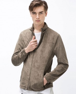 Brown Taupe Perforated Faux Suede Leather Jacket