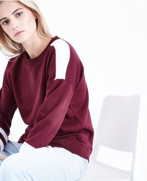 Burgundy Colour Block Sleeve Sweatshirt