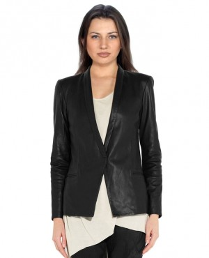 Business Look Women Leather Blazer with Custom Branded Lining