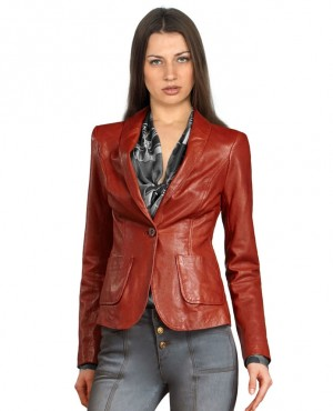 Buttoned and Pockets Official Look Wholesale Women Leather Blazers