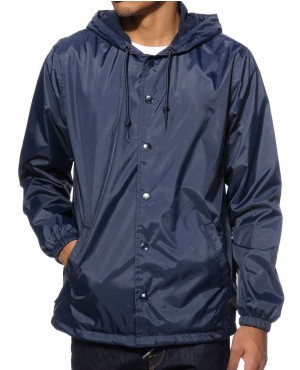 Buttoned Windbreaker Hooded Coach Jacket
