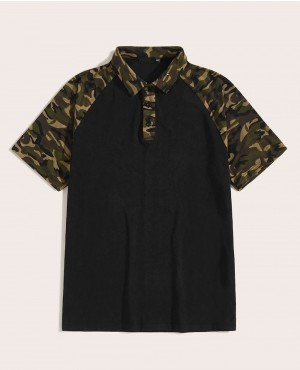 Camo Custom Print Raglan Sleeve Polo Shirt