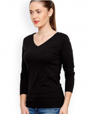 Casual Black Slim Fit V Nack T Shirt