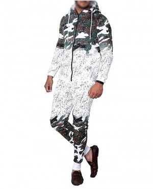 Casual Camouflage Printed Tracksuit Set