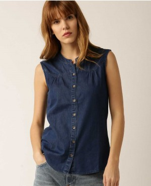Casual Denim Sleeveless Blouses Buttoned Shirts