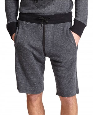 Charcoal French Terry Cutoff Shorts Gray
