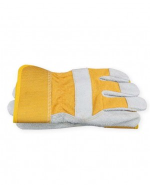 Cheap Split Leather Working Glove Rubber Cuff Safety Wears Work